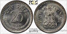 India 25 Paise 1974 MS66 PCGS KM#49.3 3 Legged Bull Buffalo Gem White Finest