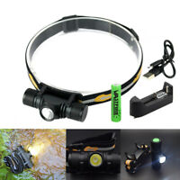 USB 1000lm XM-L2 LED Headlamp Head Torch Rechargeable Flashlight Hunting 18650