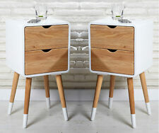 2 side tables white ecru with drawers bedside table telephone table nightstand