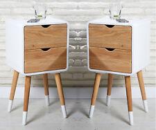 2x Nachttisch Nachtschrank Holz skandinavisch retro weiß natur mit 2 Schubladen
