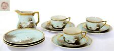 Japanese Nippon Porcelain Tea Cup & Saucer Plate 13 Pieces Set Flying Swan Geese
