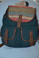 Olsenboye Mixed Media Sequin-Trim Backpack Teal/Brown Shoulder Bag School - NWT