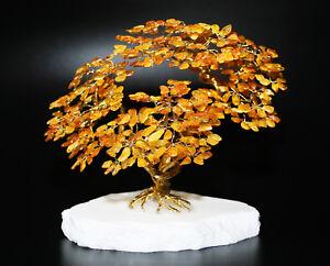 Goldener Glücksbaum Glücksbäumchen Bernsteinbaum XI 18 cm Handmade