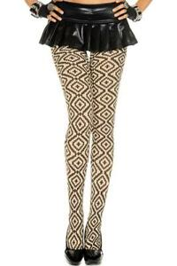 sexy MUSIC LEGS opaque diamond CROSS geometric TRIBAL tights PANTYHOSE nylons