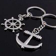 1 Pair New Rudder Anchor Metal Keychain Couple Key Chain Rings Forever Love Gift