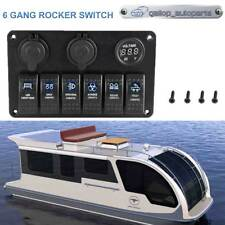 6 Gang Marine Ignition Toggle Rocker Switch Panel Waterproof For Truck Trailer