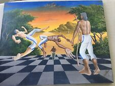 Capoeira Canvass Painting Imported From Brazil; Afro-Brazilian Martial Art