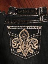 LA IDOL Boot-cut Bling Rhinestone Dark Blue Denim Jeans 7 30 33 Womens Juniors
