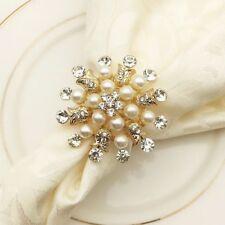 Napkin Anneau 10Pcs Metal Flower Golden Pearl Luxury Hotel Table Decoration