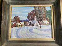 """Vintage Jean Shoch """"Winter Village Landscape Scene"""" Oil Painting - Signed/Framed"""