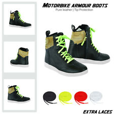 Mens Bikers Motorcycle Casual Boots Motorbike Genuine Leather Touring Sneakers