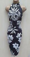 KAREN MILLEN 12 UK Black Oriental Chinese Flower Print Halterneck Cocktail Dress
