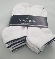 Nautica Mens 6 Pack Socks Athletic Core Low Cut 10-13 WHITE