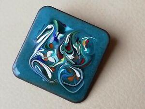 Vintage style jewellery petrol blue enamel splatter painted brooch