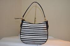 Kate Spade Cobble Hill Straw Mylie Hobo Handbag Black/cement PXRU7555