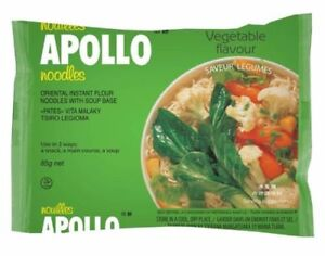 Instant Noodles Chinese Style Bowl Vegetable Flavour Apollo  24 x Packets 85g