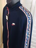 New Nike Sportswear Obsidian/Red/Sail Taped Track Jacket, AJ2681-451, Men's 2XL