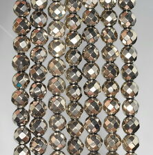 """8MM HEMATITE GEMSTONE PYRITE TONE FACETED ROUND 8MM LOOSE BEADS 16"""""""