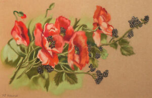 Still Life with flowers Pastel Painting Signed