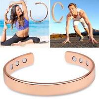 Women Men Copper Bracelet Magnetic Healing Pain Relief Plain Bangle Arthritis