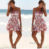 Women Strapless Bandeau Backless Floral Boho Beach Cocktail Party Mini Sun Dress