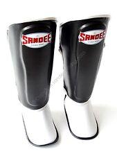 Sandee Kids Thai Boxing Shin Guards Black White Childrens Boys Girls Shin Pads