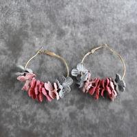 Fresh Floral Earrings Simple Geometric Big Circle Sweet Flower Earring JA