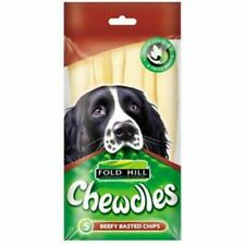 Chewdle Beef Basted Chips Treats for Dogs Oral Hygiene Baked Dry Beefhide 5 Pack
