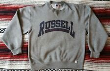 Vintage 80s 90s Russell Athletics Grey Crewneck Sweater MEDIUM Grunge THRASHED