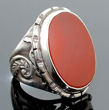 925 Sterling Silver Ring Carnelian Aqeeq Unique Handmade Men's Jewelry sz 9.5