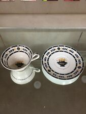 WEDGWOOD BLACK ON WHITE Bone China TEA CUP and SAUCER