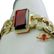 Yellow Gold Over Sterling Silver Gemstone Garnet Red Simu Diamond Bracelet