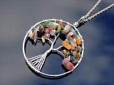 Handmade Tourmaline Tree of Life Natural Gemstone Pendant Necklace 50cm Chakra