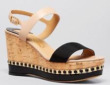 Salvatore Ferragamo Mollie Open Toe Platform Wedge Sandal Bisque/nero Size 8