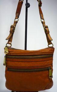 Fossil EXPLORER Burnt Orange Rugged Pebbled Leather Shoulder or Crossbody Bag