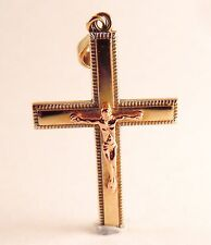 & Rose Gold Crucifix Cross Pendant 100% Genuine Vintage 9ct Solid Yellow