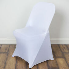 10 White FOLDING Stretch SPANDEX CHAIR COVERS Event Banquet Party Decorations