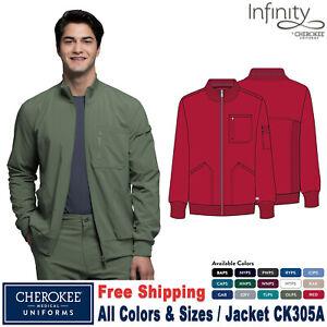 Cherokee Scrubs INFINITY Men's Athletic Fit Zip Front Warm Up Jacket CK305A