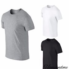 Men 100% Cotton T Shirts Top Casual Work Sports Grey White Black S M L XL XXL