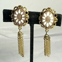 VINTAGE Molded Glass Flower GOLD TASSEL EARRINGS Clip Back Chains