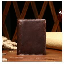 New Mens Vintage Style Cowhide Leather Brown Wallet ZIPPER Coin Purse Bifold