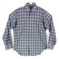 Neiman Marcus Mens sz M Black White Plaid Long Sleeve Button Down Casual Shirt
