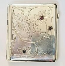 Antique Russian Silver Ruby Cigarette Case Box