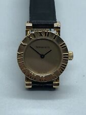TIFFANY&Co Atlas 18K Yellow Gold Quartz Ladies Watch 19mm Model 35-024