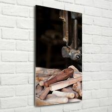 Wandbild Kunst-Druck auf Hart-Glas senkrecht 70x140 Holzwerkzeuge