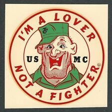 """VINTAGE ORIGINAL 1966 MARINES """"I'M A LOVER NOT A FIGHTER"""" USMC WATER DECAL ART"""