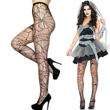Gothic Cobweb Spider Web Tights Pantyhose Sheer Cutout Spiderweb Cosplay Costume