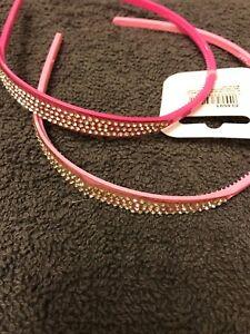 Pink diamante child's alice band plastic small headband hairband girls aliceband