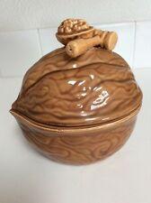 Vintage 1950's Covered Ceramic Nut Dish-Walnut & Mallet Design on Lid-Pre-owned