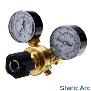 GAS BOTTLE PRESSURE FLOW REGULATOR DUAL GAUGE ARGON CO2 NITROGEN MIG TIG WELDING